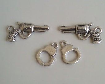 CLEARANCE 8 Sets Pistols Guns and Handcuffs Policeman Cop Collection Antique Silver Finish Tibetan Style Charms