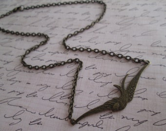 Soaring Bird Necklace in Antiqued Bronze, Nature Inspired Jewelry, Vintage Inspired Jewelry