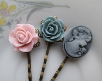 Vintage Inspired Cameo Hair Pin Set with Victorian Pink and Sage Green Flowers, Rose, Antiqued Brass, Antiqued Bronze Filigree