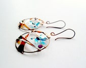 Turquoise butterfly earrings, bronze dangle earrings, autumn jewelry, fall leaves