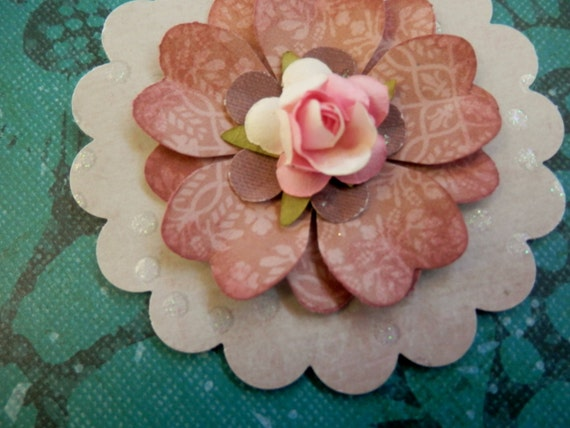 LAST SET - 3 Handmade Paper Flowers Within Flowers - Blush Pink, Rhubarb Red, Foggy Grey