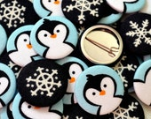Pack of Fabric Christmas Badges/ Pin Badges/ Pin back buttons, Penguin & Snowflake badges, for stocking fillers, crackers and party bags