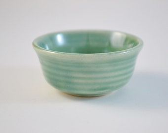 "Miniature Pot, Tiny Hand Thrown Bowl, Glazed Stoneware, Green, 1"" tall, IN STOCK"
