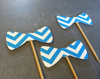 12 blue chevron bow tie cupcake toppers-bow appetizer picks