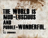 Typography Print e.e. cummings Quote About the World--Typographical Art Print 11x14
