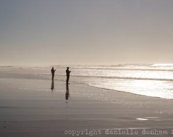 Beach Photography Oregon Coast Fishermen Fishing Gray--Fine Art Lomography 8x12
