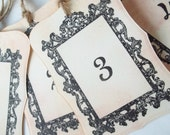Wedding Table Number Cards, Wedding Table Number Tags, Shabby , Rustic - Black ,Tea , Blush