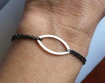 Mixed Metal Marquise Bracelet