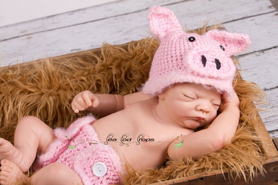 Crochet Pig Hat and Diaper Cover, Farm Animal Collection, Newborn Size