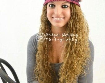 Girls or Womens Crochet Flapper Hat with Detachable Flower
