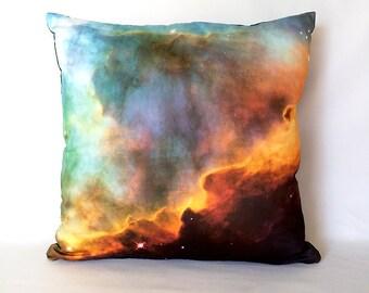 ON SALE: Omega Swan Nebula Pillow Cover - Outer Space Galaxy Photo on Fabric; aqua blue, orange, black