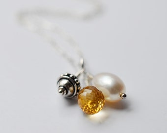 Citrine Necklace, Citrine, Pearl and Sterling Silver Charm Necklace - 18 inches