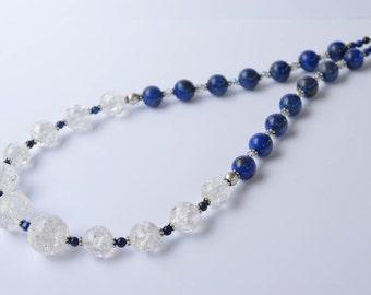 Lapis Lazuli, Crystal Quartz  Sterling Necklace / Color Block / Royal Blue Genuine Lapis and Snowflake Quartz Gemstone Necklace  - 19.5 inc