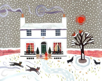 John Keats - Fine Art Print - Keats House - Naive Art - Romantic Poet - Booklovers Gift - Cats - Snow - Winter - Christmas - Writers' Houses