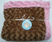 One Mocha Brown Minky Swirl Blanket Lined with Pink Minky Swirl. 50 x 60