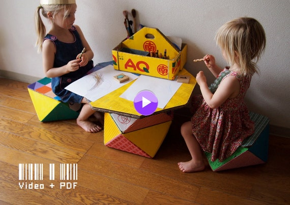 Cardboard Totem Boxes: pattern and video tutorial