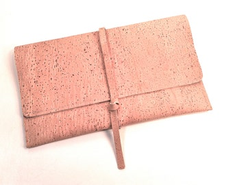 Cork Leather Pouch mini clutch, purse, natural, sustainable, eco-friendly, Earth Day