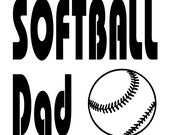 Softball Dad Vinyl Car Decal