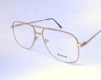 Mens Eyeglasses, Gold Metal Aviator Eyewear, Vintage 80s Square Matte Gold Frames