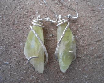Lemon Chrysophase Silver Wrapped  Earrings