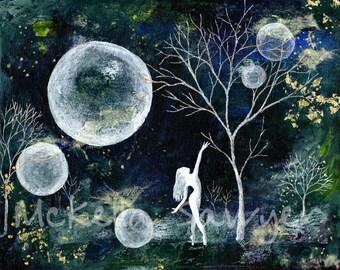 8x10 Art Print-Blue Fireflies-Tree Art-Dancer Art-Tree Painting-Dancer Painting