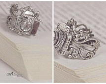 camera RING CAPTURE the moment adjustable silver antique bronze photographer gift