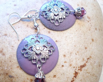 Purple Enamel Filigree Earrings,  Amethyst Earrings