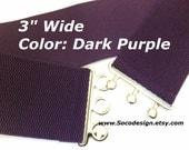 Waist Belt, Elastic Belt, Stretch Belt, Cinch Belt, Dark Purple Belt No. C011