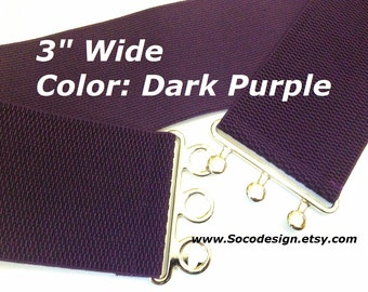 Waist Belt, Elastic Belt, Stretch Belt, Cinch Belt, Dark Purple Belt No. C011