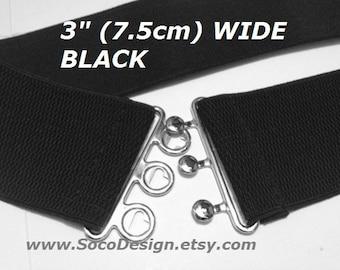 Black waist belt, Black elastic belt, Plus size belt available, for any Winter Coat Jacket, Dress, shirt