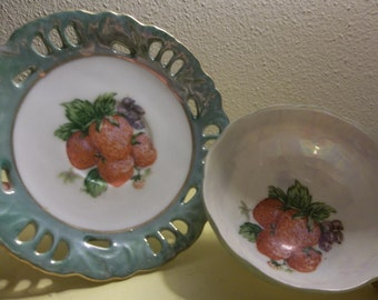 Vintage Strawberry Cup and Saucer
