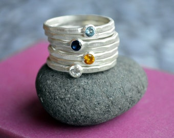 Hammered Birthstone Stacking Ring in Sterling Silver, Stacking birthstone rings, Mothers Ring