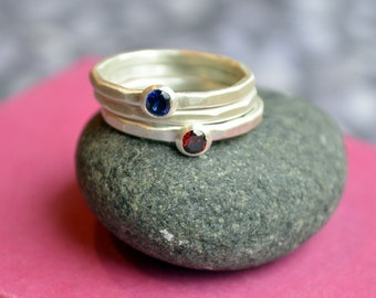 Stacking Birthstone Ring Set in Hammered Sterling Silver
