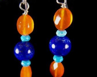 Artisan Earrings Lapis Lazuli Carnelian Turquoise Sterling Silver