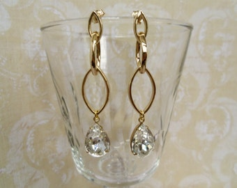 Elegant Clear Pear Rhinestone Dangle Earring with Luster Gold Plated Links and Sterling Sillver Post