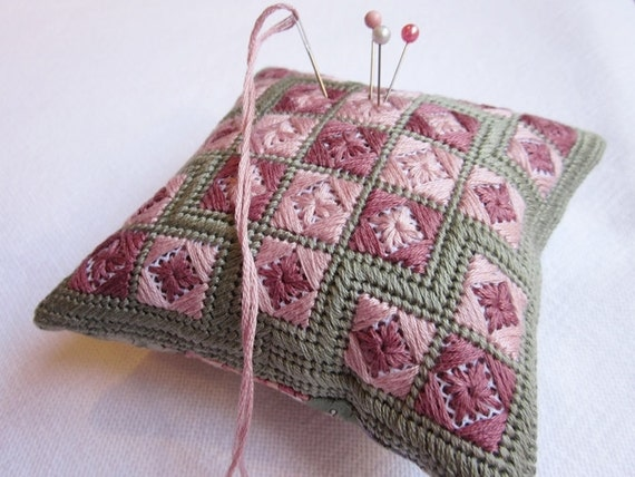 Needlepoint Pincushion Embroidery Pattern Pink Eyelets