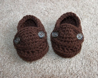 Crochet chocolate brown baby boy loafer booties