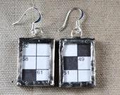 OOAK STEAMPUNK Earrings Crossword Puzzle Soldered Glass