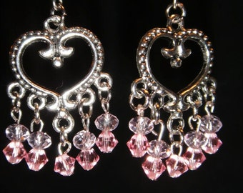 Pink Swarvoski Crystal Heart Earrings