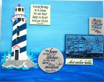 Verses Art.  The hope we have is an anchor for the soul, sure and steadfast. Hebrews 6.19.  Job 9:8.  Psalm 27.1.  Handmade Scripture Plaque