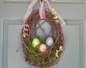Easter Wreath -!!  Nest with Crackle Easter Eggs- Choose your Custom Floral -