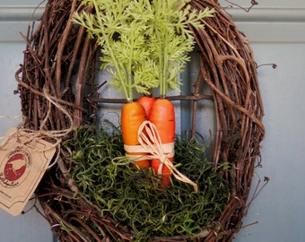 Easter Wreath - VERY LIMITED - Grapevine with carrots and Spanish Moss - Spring Wreath Wreath Alternative - Easter Basket
