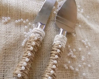 Jute Wrapped Cake Cutting Set - Cake Server - Jute, Lace and Pearls - Beautiful - Ships Super Fast