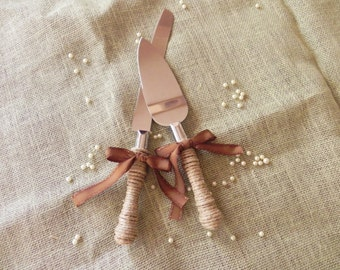 Jute Wrapped Cake Server - Fully Covered - Ribbon Your Choice