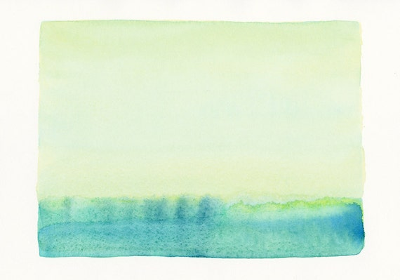 original watercolor painting, soft blue and green scene, watercolor landscape