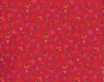"Red floral Fabric, 1 Yard x 42"" wide, red background with small scattered flowers"