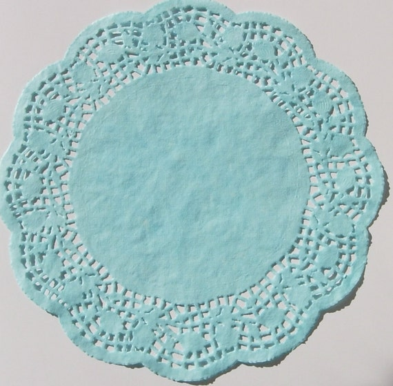 TEN dip dyed Turquoise Blue Paper Doilies, 8 or 10 inch Scalloped Rose ...