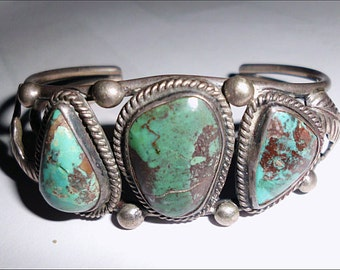 Native American Pawn Silver & Turquoise Bracelet, Signed E. Kee