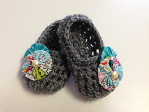 Ready to Ship: 3-6mo Handmade Crochet Baby Slippers