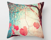 Pillow Cover, Pink Pillow, Love Pillow, Heart Pillow, Turquoise Pillow, tree pillow, fall pillow, couch pillow, coral pillow